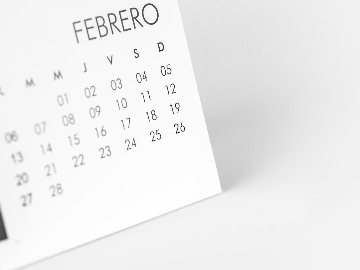 Calendário online de mesa